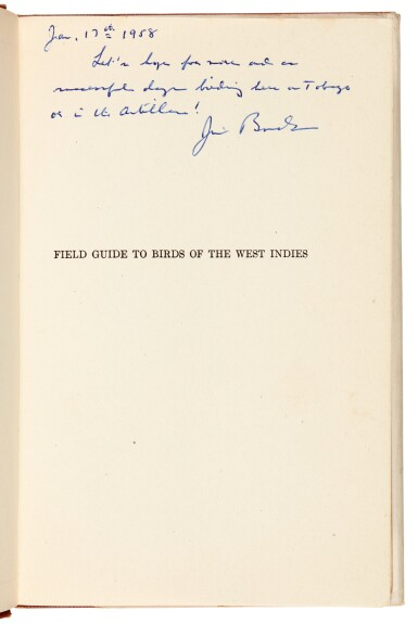 View 2. Thumbnail of Lot 109. BOND | Field Guide of Birds in the West Indies, 1947, presentation copy.