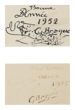 GEORGES BRAQUE | TWO CHRISTMAS CARDS: A PAIR OF WORKS