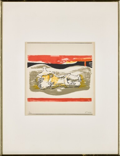 View 2. Thumbnail of Lot 157. Reclining figure with red stripes (Cramer 291).