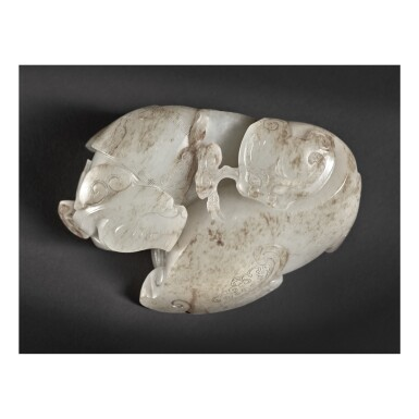 View 4. Thumbnail of Lot 204. AN EXCEPTIONAL AND RARE WHITE AND RUSSET JADE 'MYTHICAL BEAST' CARVING , QING DYNASTY, QIANLONG PERIOD .