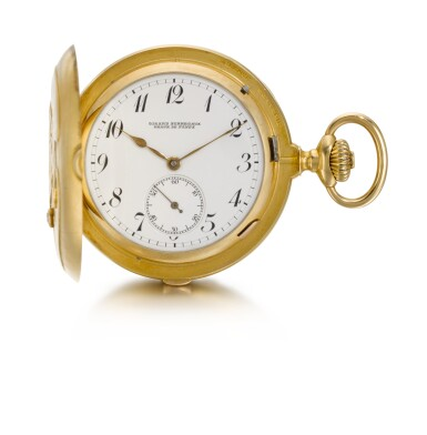 View 2. Thumbnail of Lot 91. GIRARD-PERREGAUX, CHAUX-DE-FONDS [芝柏,拉紹德封] | A GOLD AND DIAMOND SET HUNTING CASED KEYLESS LEVER MINUTE REPEATING GRANDE SONNERIE CLOCK WATCH, THE COVER WITH A BALD EAGLE CIRCA 1900, NO. 323445 [黃金鑲鑽石三問大自鳴懷錶,錶蓋飾白頭鷹,年份約1900,編號323445].