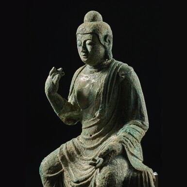 View 4. Thumbnail of Lot 585. A BRONZE FIGURE OF BUDDHA,  TANG DYNASTY.