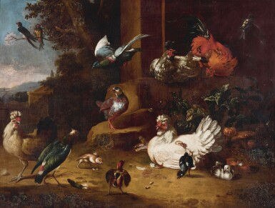 View 1. Thumbnail of Lot 143. STUDIO OF MELCHIOR DE HONDECOETER | Poultry and a lapwing in a garden landscape, with a pigeon in flight and two birds of prey in the distance.