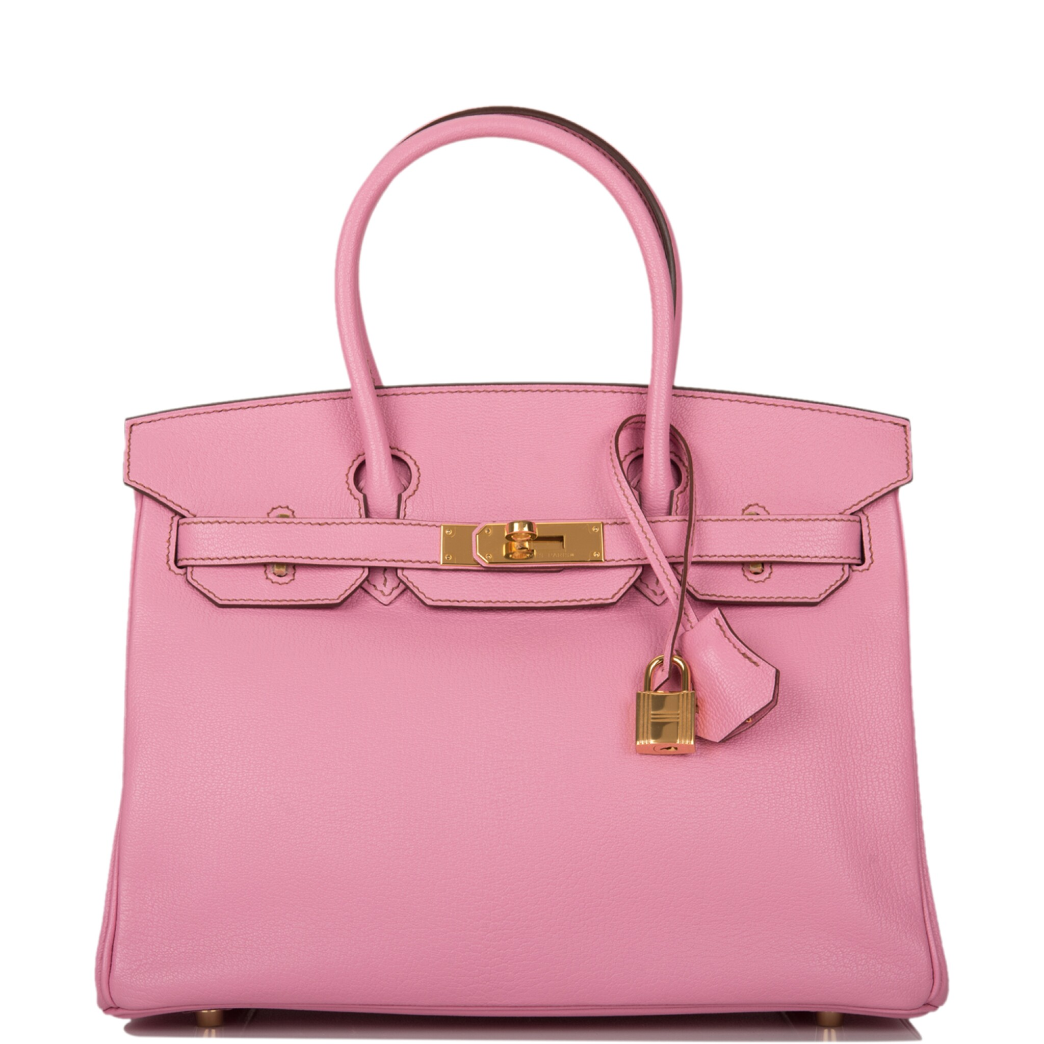 View full screen - View 1 of Lot 35. HERMÈS   BUBBLEGUM 5P BIRKIN 30CM OF CHEVRE LEATHER WITH GOLD HARDWARE.