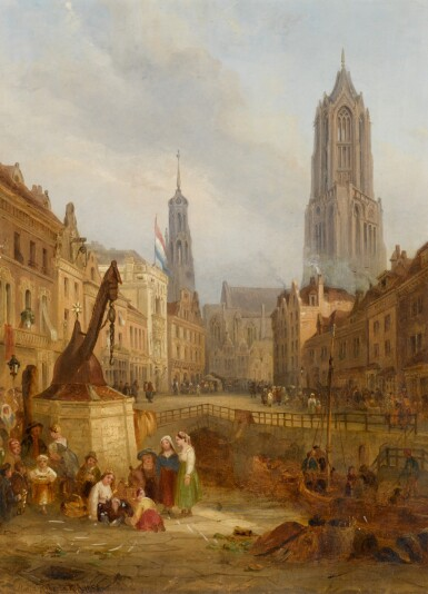 View 1. Thumbnail of Lot 218. FOLLOWER OF DAVID ROBERTS | A view of Utrecht, with the Dom Tower of St. Martin's Cathedral .