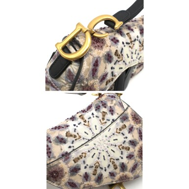 View 8. Thumbnail of Lot 21. DIOR   HANDPAINTED AND BEADED MINI SADDLE BAG FROM THE KALEIDIORSCOPIC COLLECTION IN CALFSKIN WITH GOLD TONE HARDWARE, 2019.