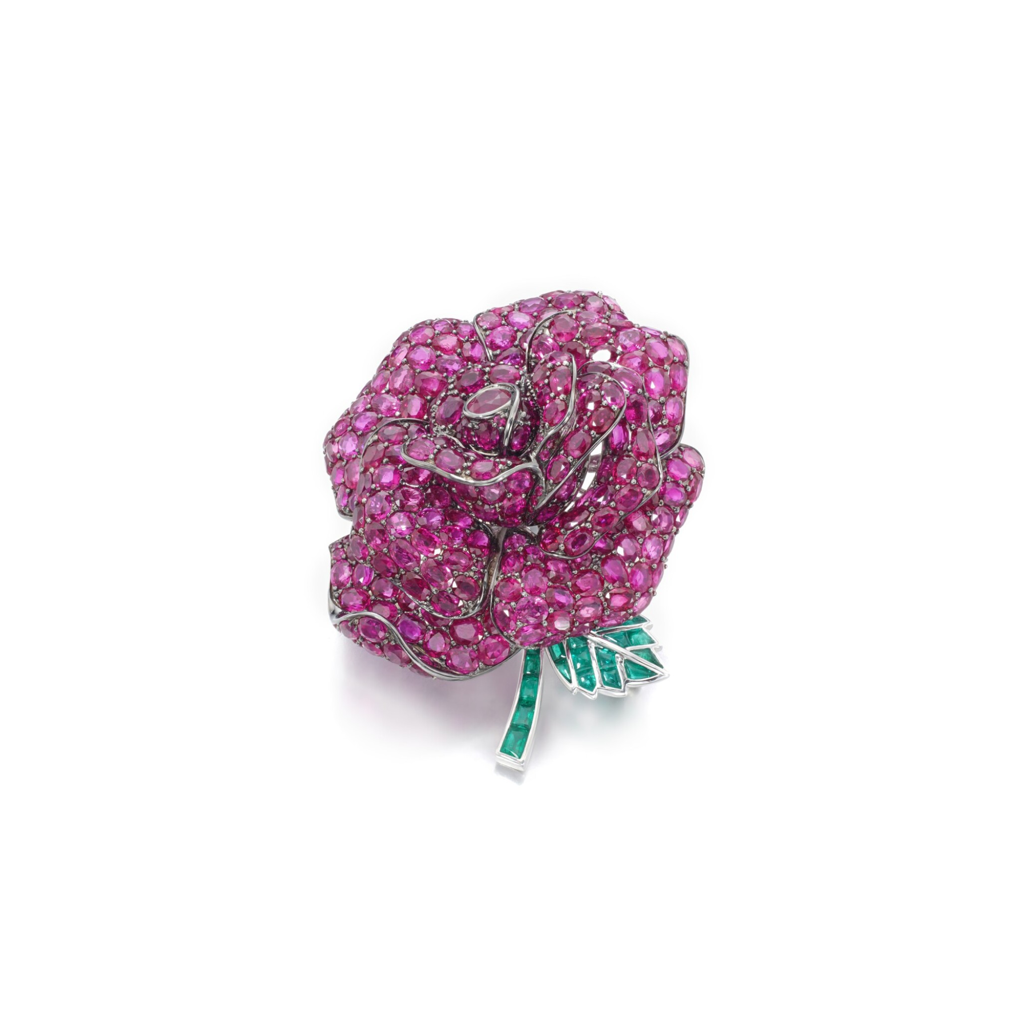 View full screen - View 1 of Lot 50. Ruby and emerald brooch.