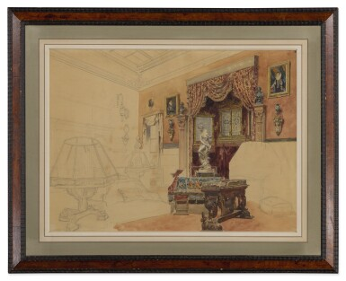 View 3. Thumbnail of Lot 166. An unfinished study of an elegant interior.