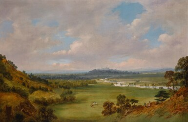 WILLIAM DANIELL, R.A. | A view of Windsor Castle from the southwest, with Cooper Hill to the left and the plain of Runnymede in the middle