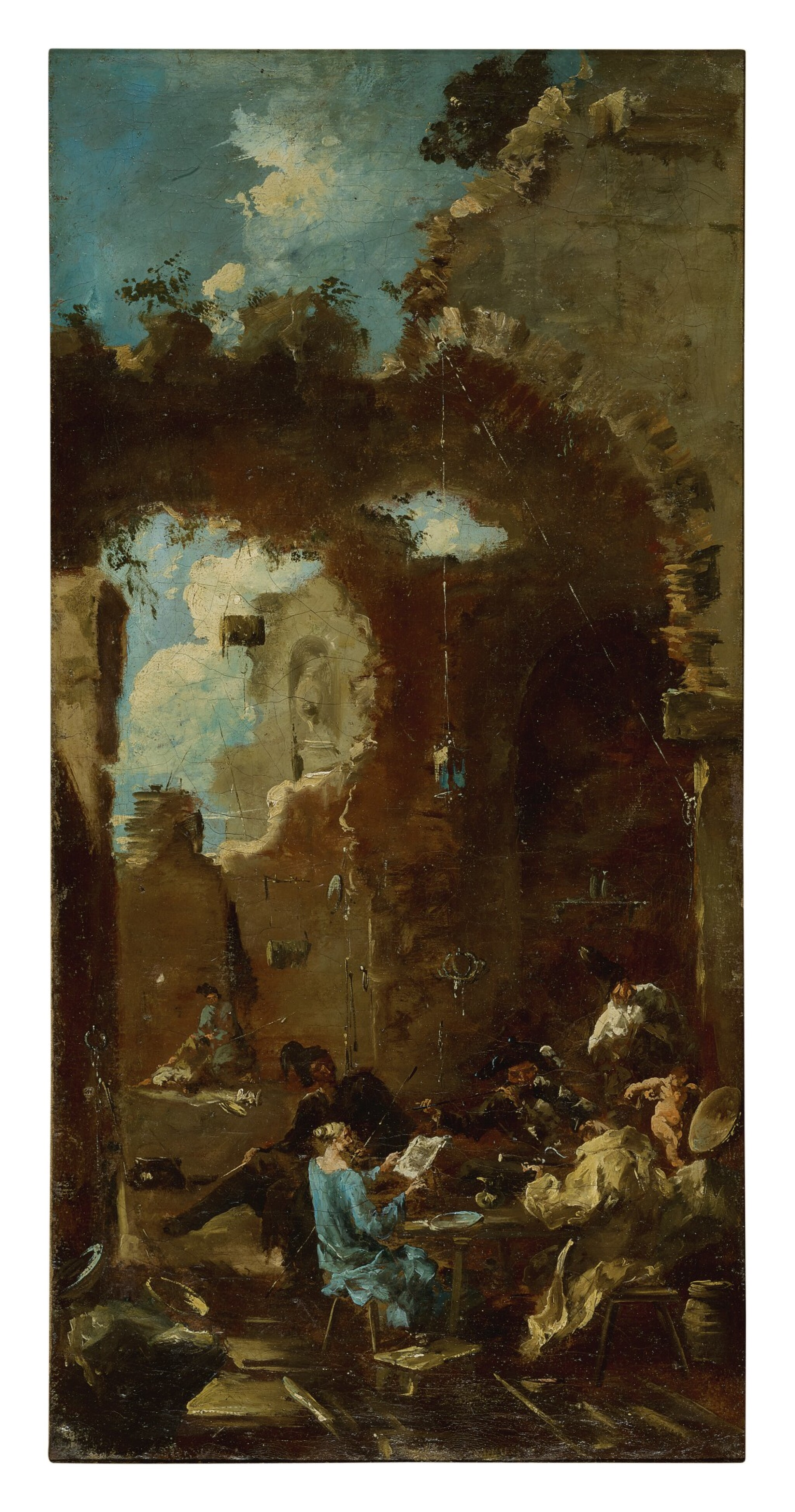 View full screen - View 1 of Lot 96. Sold Without Reserve   MANNER OF ALESSANDRO MAGNASCO, CALLED IL LISSANDRINO   A CONCERT IN A TAVERN AMONG RUINS.