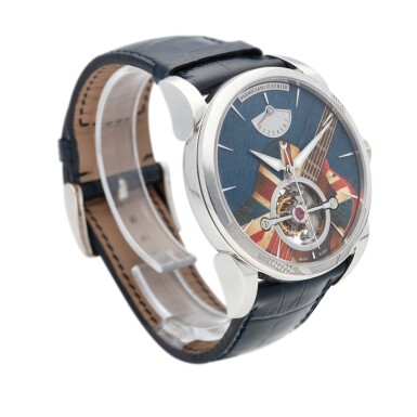 View 3. Thumbnail of Lot 22. Tonda Woodrock Gibson. Ref. MJF London Unique platinum tourbillon wristwatch with marquetry dial and power reserve indication Circa 2012.