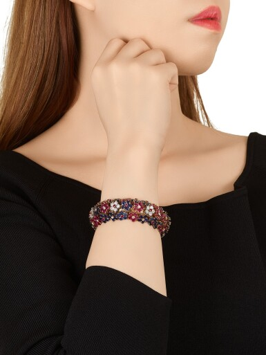 View 4. Thumbnail of Lot 1659. 'Hawaii' Ruby, Sapphire and Diamond Bracelet | 梵克雅寶 | 'Hawaii' 紅寶石 配 藍寶石 及 鑽石 手鐲.