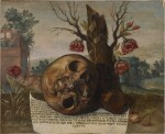 NORTH ITALIAN SCHOOL, 17TH CENTURY | VANITAS STILL LIFE WITH A SKULL IN A LANDSCAPE