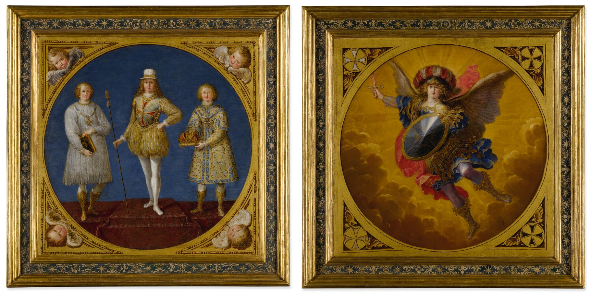 View full screen - View 1 of Lot 665. A young prince, possibly Ferdinand Karl, Archduke of Austria and Tyrol, flanked by two attendants;  The Archangel Saint Michael, wearing a plumed helmet with the colors of Austria.