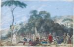 JOHANN WILHELM BAUR | FIGURES BEFORE A TOMB, WITHIN A LANDSCAPE