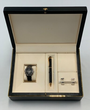 View 8. Thumbnail of Lot 431. CHRONOGRAFF, REF LWG LIMITED EDITION WHITE GOLD CHRONOGRAPH WRISTWATCH WITH DATE, MATCHING CUFFLINKS AND PEN CIRCA 2012.
