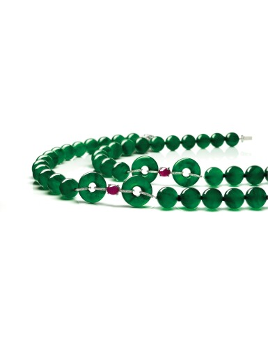 View 2. Thumbnail of Lot 1765. A Fine and Unique Jadeite Bead, Diamond and Ruby Necklace | 【四季平安】天然翡翠珠 配 鑽石 及 紅寶石 項鏈.