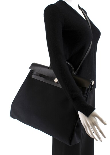 View 10. Thumbnail of Lot 113. HERMÈS | BLACK HERBAG MM 2-IN-1 IN HUNTER COWHIDE WITH PALLADIUM HARDWARE, 1999.
