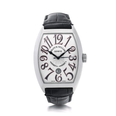 View 1. Thumbnail of Lot 69.  FRANCK MULLER | REFERENCE 8880 SC DT AMERICA-AMERICA  A LIMITED EDITION STAINLESS STEEL TONNEAU-SHAPED AUTOMATIC WRISTWATCH WITH DATE, CIRCA 2008.