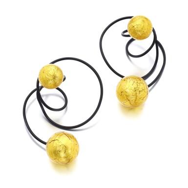 View 1. Thumbnail of Lot 1117. Pair of titanium and glass ear clips, 'Carnaval de Venise'.