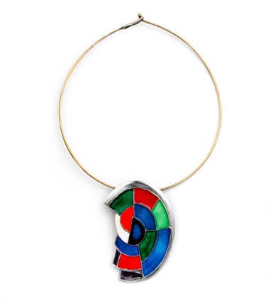 View 1. Thumbnail of Lot 10. Sonia Delaunay, Enamel and silver necklace [Collier émail et argent], 'Abstraction'.