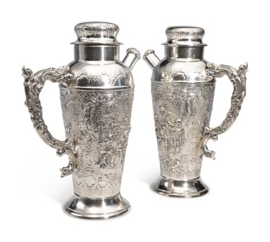 View 1. Thumbnail of Lot 322. A PAIR OF GERMAN SILVER COCKTAIL SHAKERS, MAKER'S MARK WH/H IN CIRCLE, CIRCA 1900.