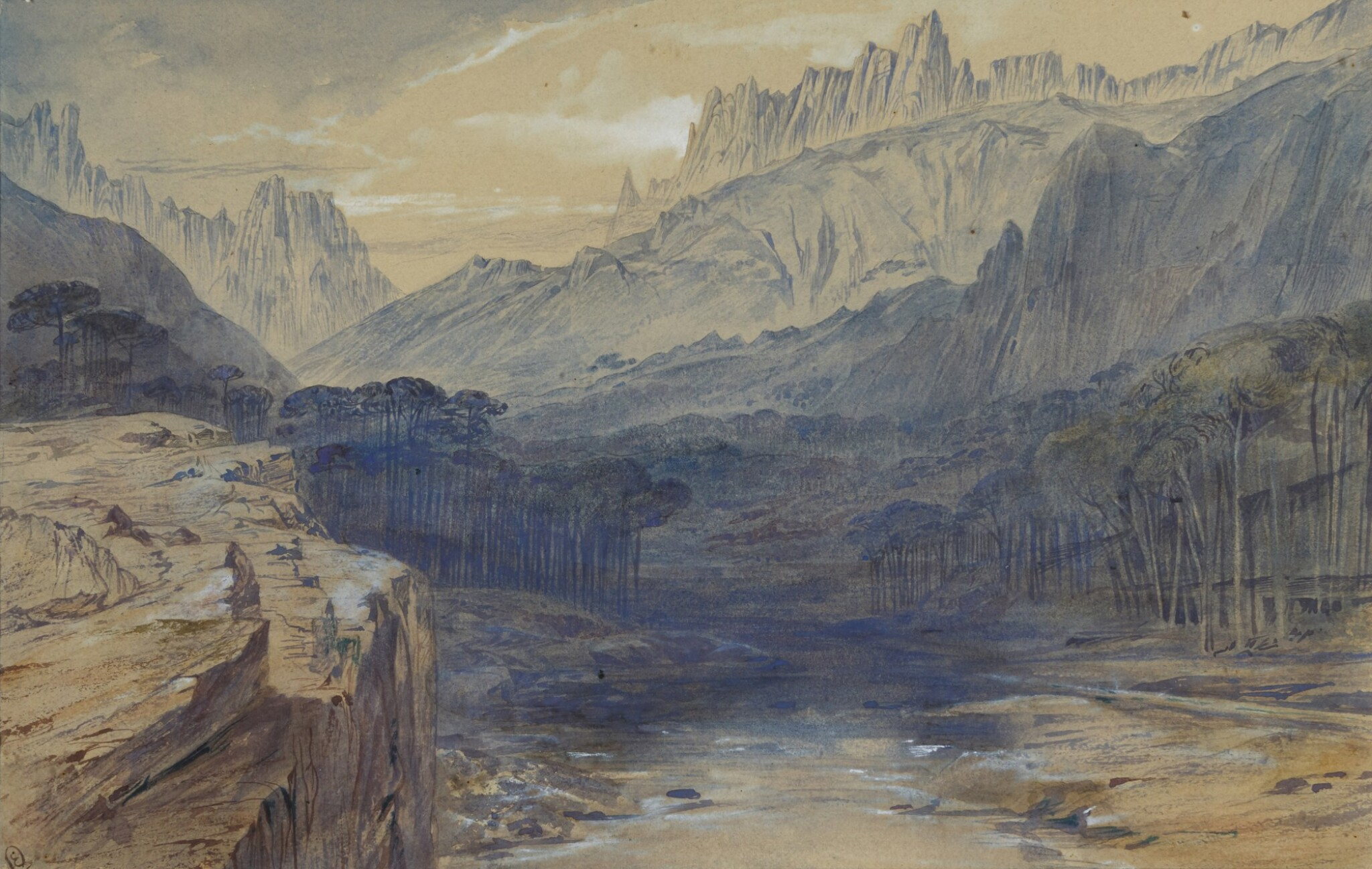 View full screen - View 1 of Lot 77. EDWARD LEAR   The Pass of Bavella, Corsica   .