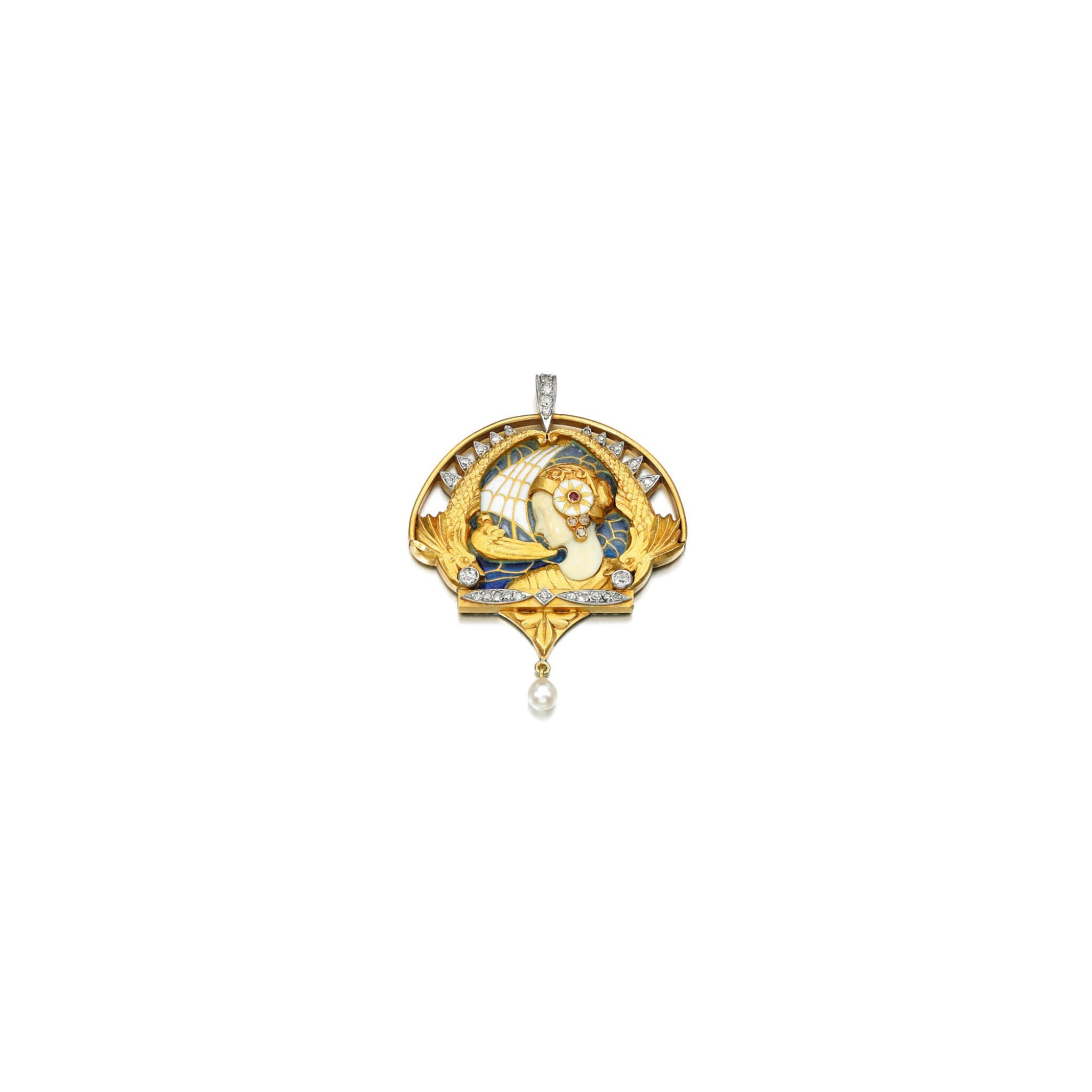 View full screen - View 1 of Lot 223. IVORY, ENAMEL AND DIAMOND PENDANT, MASRIERA Y CARRERA, 1920S.