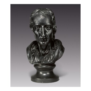 A WEDGWOOD AND BENTLEY VERY LARGE BLACK BASALT BUST OF ROBERT BOYLE LATE 18TH CENTURY