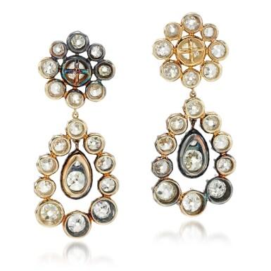 View 3. Thumbnail of Lot 81. Pair of diamond earrings.