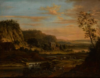 JOHANN CHRISTIAN VOLLERDT | Peasants on a road by a river in a Rhenish landscape