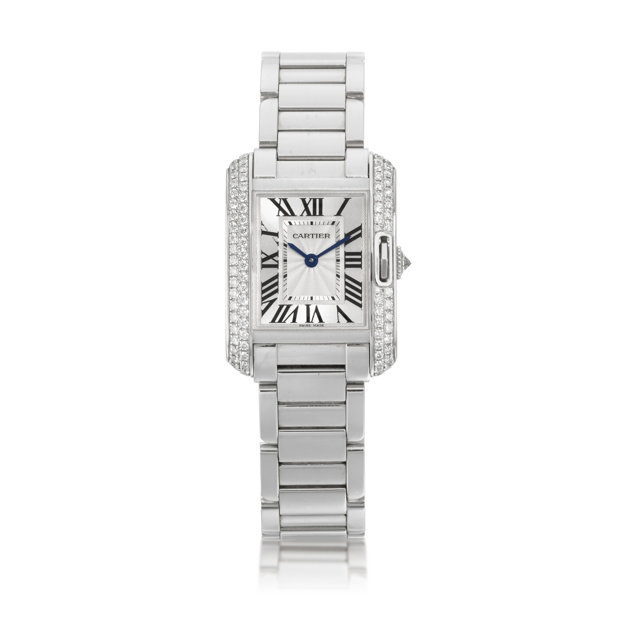 View full screen - View 1 of Lot 455. TANK ANGLAISE WHITE GOLD AND DIAMOND SET WRISTWATCH WITH BRACELET CIRCA 2012.