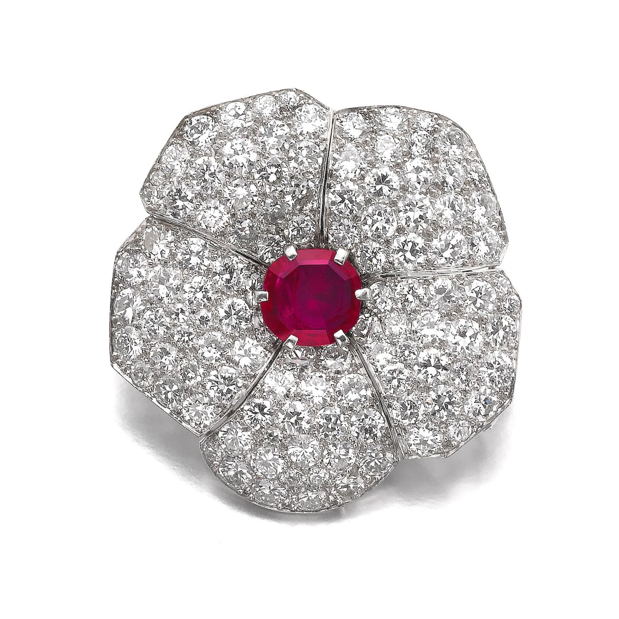 View full screen - View 1 of Lot 601. Cartier | Ruby and diamond brooch, circa 1937 | 卡地亞 | 紅寶石配鑽石別針, 約1937年.