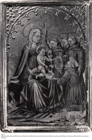 View 5. Thumbnail of Lot 57. MASTER OF THE ANCONETTE FERRARESI  |  THE NATIVITY, WITH SAINT ANTHONY ABBOT AND A SUPPLICANT.
