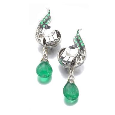View 3. Thumbnail of Lot 627. René Boivin | Pair of emerald and diamond ear clips, circa 1955 | René Boivin | 祖母綠配鑽石耳環一對,約1955年.