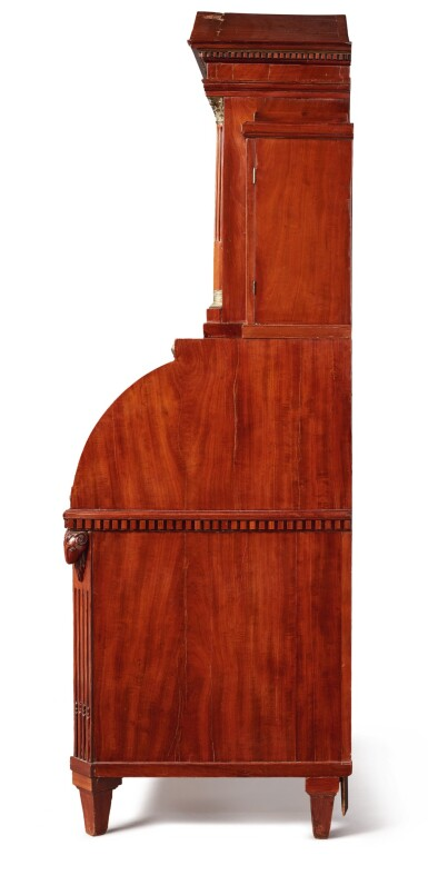A NORTH GERMAN NEOCLASSICAL BRASS-MOUNTED MAHOGANY SECRETAIRE A CYLINDRE, CIRCA 1800