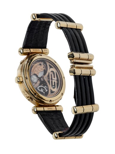 GÉRALD GENTA |  REF G4009.4 YELLOW GOLD PERPETUAL CALENDAR TOURBILLON WRISTWATCH WITH MOON PHASES AND LEAP-YEAR INDICATION CIRCA 1992