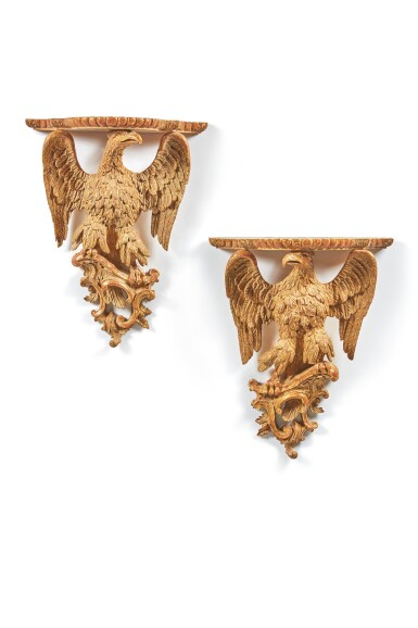 View 2. Thumbnail of Lot 101. A PAIR OF GEORGE III GILTWOOD EAGLE-FORM WALL BRACKETS, CIRCA 1770.