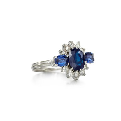 View 2. Thumbnail of Lot 74. Graff   Sapphire and diamond ring.