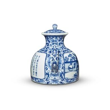 View 3. Thumbnail of Lot 76. An imperially inscribed blue and white 'Mount Hui Temple' teapot and cover, Seal mark and period of Qianlong | 清乾隆 青花御題詩烹茶圖闊底壺 《大清乾隆年製》款.