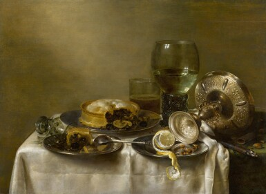 View 1. Thumbnail of Lot 11. A still life with an overturned silver tazza, glassware, pies and a peeled lemon on a table |《靜物:桌上倒轉的銀製扁花瓶、玻璃器皿、餡餅和去皮檸檬》.