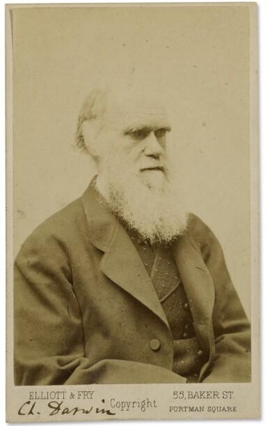 DARWIN, CHARLES   CARTE-DE-VISITE, SIGNED BY DARWIN. LONDON: ELLIOTT & FRY, LATE 1870S