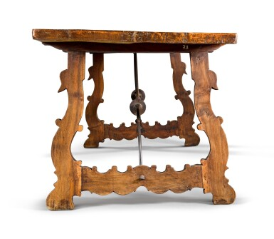 View 3. Thumbnail of Lot 11. A Spanish Baroque walnut trestle table, 17th century.