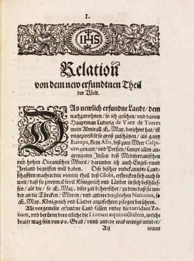 View 1. Thumbnail of Lot 8. QUIROS. Relation ... von dem new erfundnem vierten theil der Welt... Augsbourg, 1611. In-4. Maroquin rouge de Lortic..