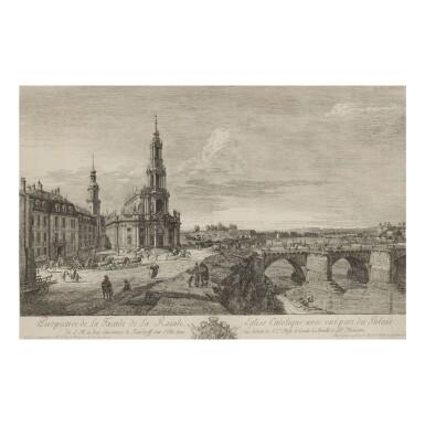 BERNARDO BELLOTTO (1721-1780) PERSPECTIVE DE LA FACADE DE LA ROÏALE EGLISE CATOLIQUE AVEC UNE PART DU PALAIS (DE VESME 11)