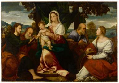 BONIFACIO DE' PITATI CALLED BONIFAZIO VERONESE AND WORKSHOP | Holy Family with Saints James Major, Jerome and Catherine of Alexandria