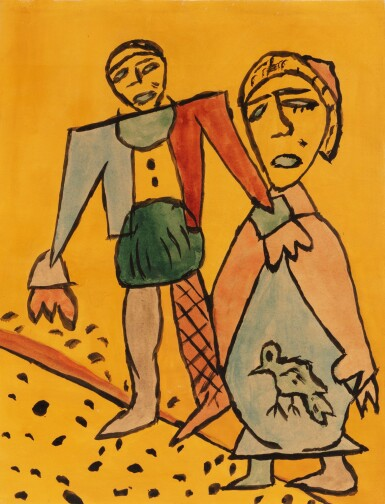 View 1. Thumbnail of Lot 194. Homme et femme à l'oiseau.