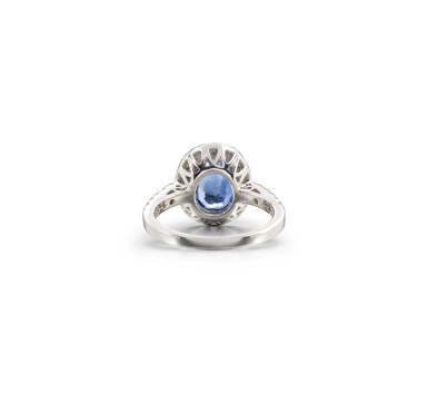 View 3. Thumbnail of Lot 44. SAPPHIRE AND DIAMOND RING.