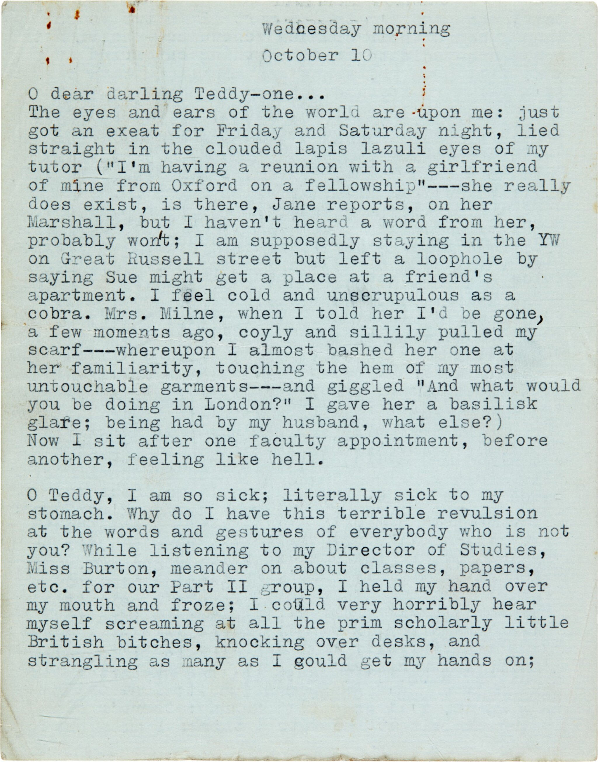 """View full screen - View 1 of Lot 13. Sylvia Plath   Typed letter signed, to Ted Hughes, """"we will burn love to death all our long lives"""", 10 October 1956."""