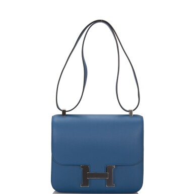 View 6. Thumbnail of Lot 18.  Hermès Bleu Agate Constance 24cm of Swift Leather with Palladium Hardware.